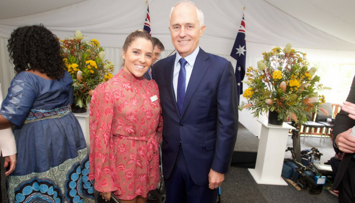 CDU Student with then prime minister Malcom Turnbull