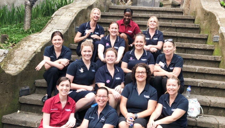 Veronica and student midwives in Bali
