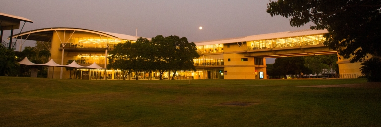 external view of Library building at sunset