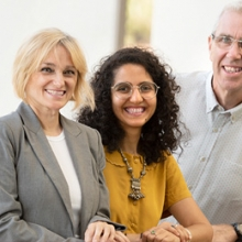 Dr Shahd Al-Janabiand, Dr Krissy Wilson with Dean of the College, Professor Dominic Upton