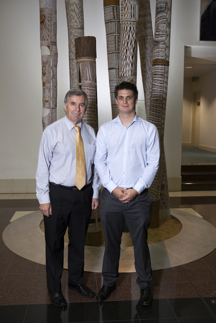 Professor Ned Aughterson and the Attorney-General's Medal recipient Joel Cockerell