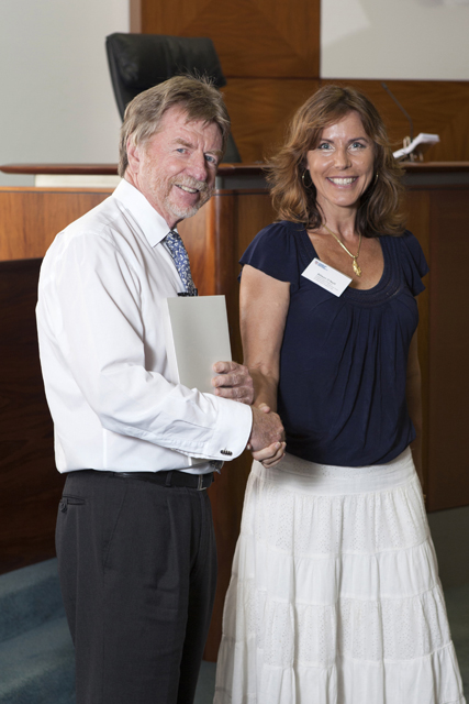 Chief Justice Trevor Riley and the Northern Territory Bar Association Prize for Advanced Torts recipient Allison O'Neill