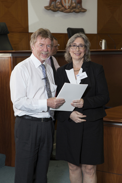 Chief Justice Trevor Riley and the Lexis Nexis Prize for Professional Responsibility recipient Sandra Markman