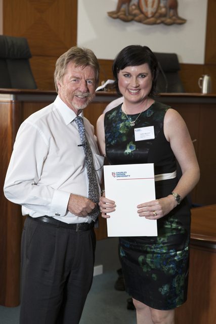 Chief Justice Trevor Riley and the School of Law Prize for Intellectual Property law recipients Caitlin Marshall