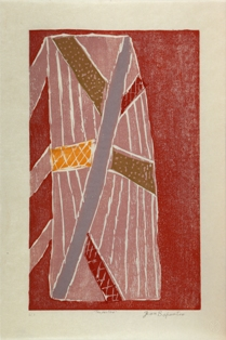 Jean baptiste apuatimi, <i>Tarpauline </i> 2010, Japanese-style woodblock, printed with natural ochres, WP edn 20; 39 x 23.7cm [image]; 47 x 31.9cm [paper]. Collaborators: Jacqueline Gribbin &amp; Karlissa Kennedy; Printer: Jacqueline Gribbin. CDU Art Collection - CDU1918. Gifted by the artist &amp; Northern Editions Printmaking Studio, 2010. Image © the artist's estate &amp; courtesy Tiwi Design, Bathurst Island, NT