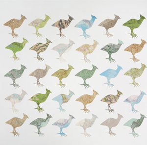 <strong>Carole Wilson</strong><br/>Born 1960, Canberra Resides Ballarat, Victoria<br/><br/><i>Mrs Darwin's Birds</i> 2010<br/>30 stencilled, hand-cut &amp; collaged maps on paper <br/>1.8 x 1.4m [installation], each bird 34 x 32cm approx.<br/>Purchased through the CDU Foundation for the CDU Art Collection, 2011 – CDU1925<br/>Image © the artist<br/>Photography: Fiona Morrison