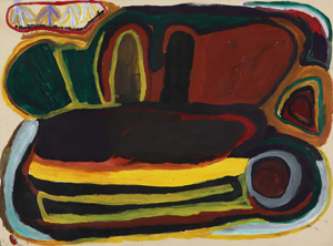 Nyuju stumpy brown, <i>Juntu Juntu</i> 1992, Acrylic paint on paper, 56 x 76cm. Image © the artist's estate &amp;amp; courtesy Mangkaja Arts Resource Agency. Batchelor Institute Art Collection, BCAC00764. Photography: Fiona Morrison