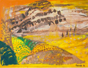 <strong>Judy Cassab CBE AO</strong><br/>Born 1920, Vienna; arrived Sydney, 1951<br/><br/><i>Ross River Road [The Torchbearers]</i> 1972<br/>Oil on board, 44 x 35cm<br/>Charles Darwin University Art Collection – CDU1853<br/>Purchased through the CDU Foundation for the CDU Art Collection, 2010 <br/>Image © the artist & courtesy Bridget McDonnell Gallery, Melbourne