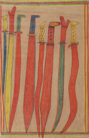 Mawalan marika, <i>Macassan swords and long knives</i> 1947, lumber crayon &amp; graphite on butchers paper, 92 x 58cm. Ronald M. &amp; Catherine H. Berndt Collection, Berndt Museum of Anthropology, UWA. © Estate of the Artist. WU7164
