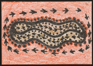 <strong>Jerry Jangala Patrick </strong><br/><i>Yawaki (Bush Plum) Dreaming </i><br/> Lajamanu, Northern Territory <br/>Warlpiri Drawings Collection, Australian Institute of Aboriginal and Torres Strait Islander Studies