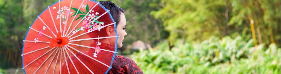 girl with chinese umbrella