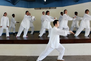 24 forms Tai Chi performance by Chinese Volunteer Teacher Mr Fala Chen and students from Manunda Terrace Primary School