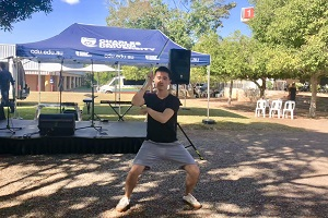 Nunchakus performance by Chinese volunteer teacher Mr Fala Chen