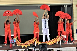 Tai Chi Fan performance by CI volunteer teacher Ms Meng Zhou and her students at Manunda Terrace Primary School