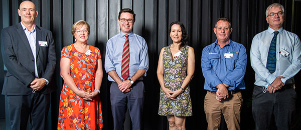 CDU Acting PVC Research and Innovation Steve Rogers, DITT's Lorraine Corowa, Minister David Littleproud, Natural Resource Management CEO Karen May, NT Farmers CEO Paul Burke and CDU Provost Mike Wilson.