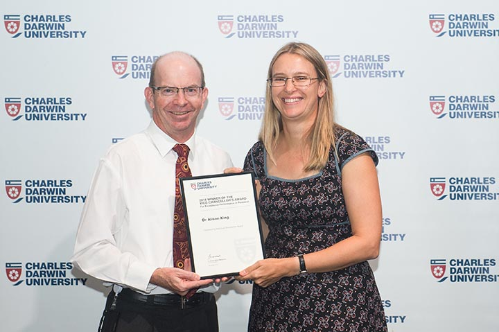CDU Vice-Chancellor Professor Simon Maddocks presents Dr Alison King with the Exceptional Performance in Research Award