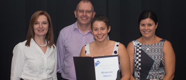 Director of StudyNT Ms Rachael Shanahan, Dr Paul Lawton, PhD candidate Rhiannon Moore and Natasha Fyles MLA