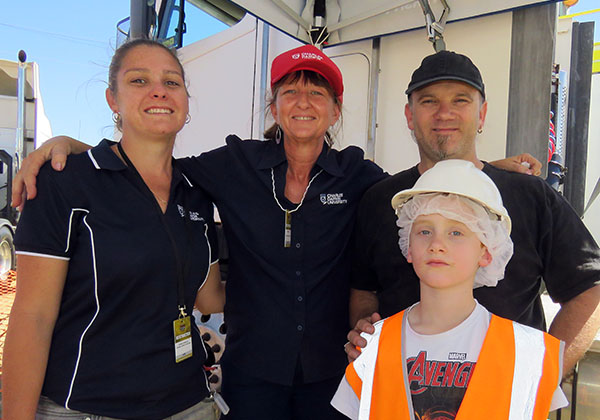Kristen Anderson, Trisha Mellow, Cain and Jai Gilmour (front), supporting the Civil Construction Activity