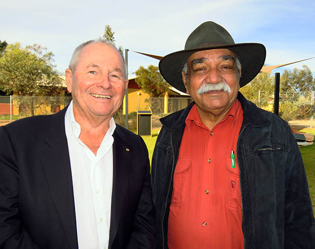 Chancellor Neil Balnaves AO and Harold Furber at the Indigenous valedictory ceremony