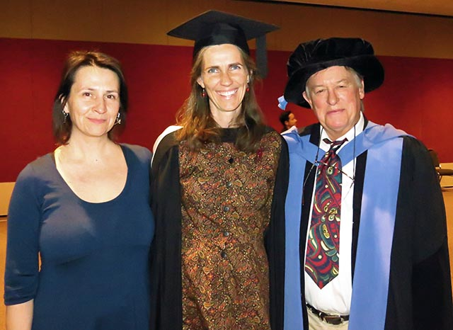 Dr Christine Schlesinger, Masters Excellence Award recipient Rachel O'Leary and Professor Rolf Gerritsen