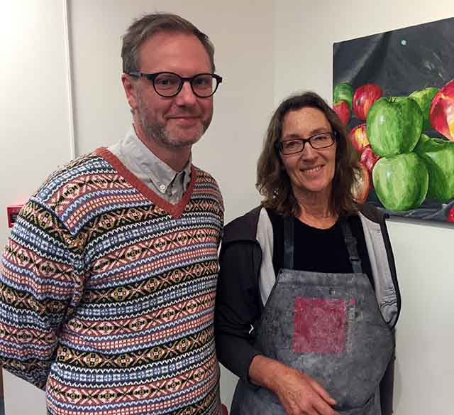 Araluen's Tim Chatwin and lecturer Suzi Lyon at the opening of More than One a Day