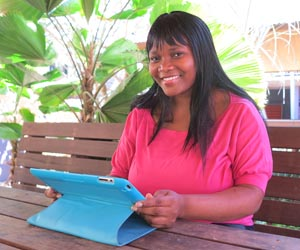 Pharmacy student Rejoice Ramotswetla plans to use her new peer educator skills to improve health outcomes in her home country of Botswana