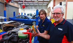 Certificate III student Michael Baker and VET trainer Len Minty in the automotive workshop in Alice Springs