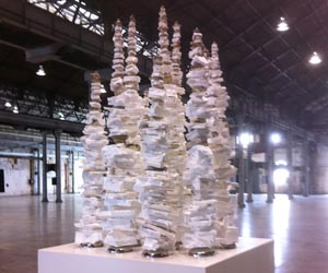 """CDU Visual Arts Lecturer and postgraduate student John Dahlsen displayed his sculpture, """"White Foam Totems"""", in Sydney to celebrate Clean Up Australia Day 2014"""