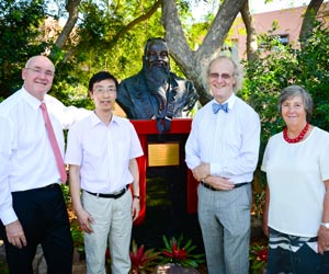 From left: Vice-Chancellor Professor Barney Glover, Confucius Institute Director Associate Professor Donghe Liu, Confucius Institute Co-Director Professor Martin Jarvis and Chancellor Her Honour the Honourable Sally Thomas
