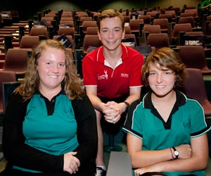 Kormilda College students (from left) Chelsea Moyd-Monagle, Bailey Hetherington-Tait and Indi Shugg at CDU's FUN101 event