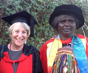 CDU Deputy Vice-Chancellor Professor Sharon Bell acknowledges Dr Lawurrpa Maypilama for her contribution