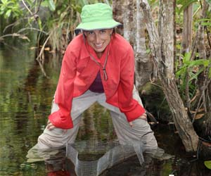 Dr Erica Garcia and her team set up enclosures in the Finniss River catchment in Litchfield National Park for 40 days last year