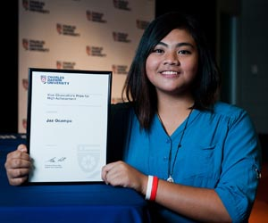 Certificate III in Music student Jaz Ocampo is the first VET student to receive a CDU High Achiever award