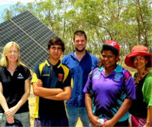 Bronwyn Rossingh, Branden Watts, Kristien Ottewill, Jessica Campbell and Lorna Murakami-Gold at the Solar Centre near Alice Springs