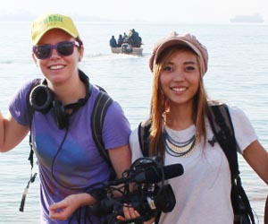 """From left: Lauren Hill and Aimee Mullins on location during the filming of """"Karrabing! Low Tide Turning"""""""