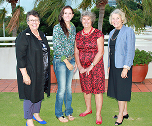 From left: Mrs Sharon Duong (Catholic Education), award-winner Katelin Webster, NT Administrator and CDU Chancellor Her Honour The Honourable Sally Thomas AC and Interim Vice-Chancellor Professor Sharon Bell at the NT Board of Studies award ceremony in Darwin