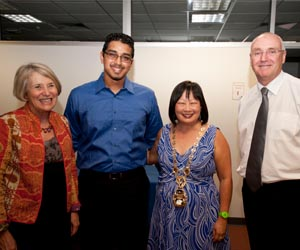 Deputy Vice-Chancellor Professor Sharon Bell, MBA student Vinay Menezes, Darwin Lord Mayor Her Honour Katrina Fong Lim and Vice-Chancellor Professor Barney Glover at the reception