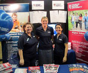 Karen Glazbrook, Sally Caraher and Helena Hermanus at the Skills, Employment and Careers Expo in Nhulunbuy