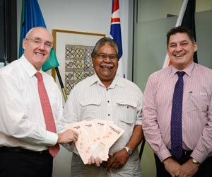 From left: Vice-Chancellor Professor Barney Glover, VCIAC Chair Dr Jack Ah Kit and Pro Vice-Chancellor, Indigenous Leadership Professor Steven Larkin at the launch of the inaugural CDU Reconciliation Action Plan 2013 – 2015