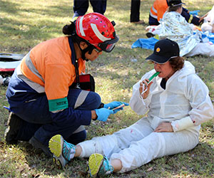 "A ""casualty"" receives emergency treatment at the Northern Australian Emergency Response Competition at Casuarina campus"
