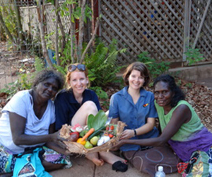 (From left) Menzies' project officers Lawurrpa Maypilama and Frances Knight with nutritionist Clare Brown and Doris Yittun from Galiwin'ku