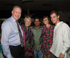 Celebrating the Sri Lankan New Year are (from left) NT Minister for Education Mr Peter Styles, Deputy Vice-Chancellor Professor Sharon Bell, CDU postgraduate students Jagath Bandara Pathirage and Madeline Goddard, and new arrival to Darwin Aaron Burton