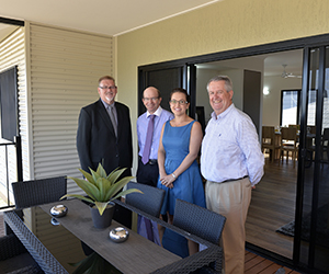 """At the official launch of the """"Lifestyle Housing"""" homes at The Heights, Durack are (from left) NT Minister for Lands, Planning and the Environment Mr Peter Chandler, Vice-Chancellor Professor Simon Maddocks, Member for Drysdale Ms Lia Finocchiaro, and The Heights, Durack Project Director Mr Geoff Smith"""