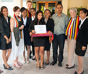 Student ambassadors from Universidade Nacional Timor Lorosa'e welcome the CDU delegation to the roundtable, which includes Director of International Strategy and Development Monica Turvey, Lecturer in Indonesian Studies Nathan Franklin and Deputy Vice-Chancellor Professor Sharon Bell