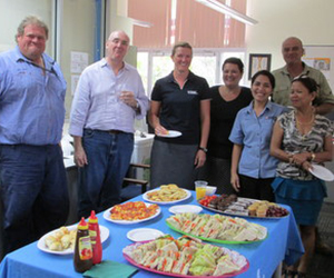 Vice-Chancellor Professor Barney Glover with staff at CDU's Learning Centre in Nhulunbuy