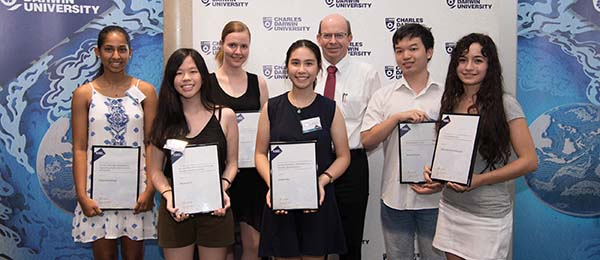 From left: Thilini Pandithage, Netanya Lai, Elliana Miles, Kristina Mu, Professor Simon Maddocks, Michael Pham and Marianna Diamondopoulos