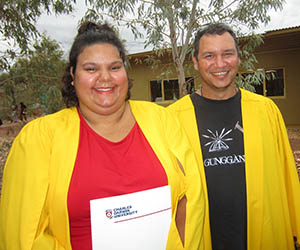 PTS graduates Amelia Kunoth-Monks, from Utopia, and Otis Pryor, from Alice Springs