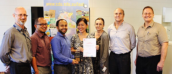 The CDU Library Living Archive of Aboriginal Languages Project Technical Team (from left): Glenn Boyling, Jerome Apresto, Ujjal Kandel, Jessie Ng, Iwona Rohoza, Neil Godfrey and Anthony Hornby
