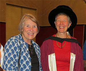 Deputy Vice-Chancellor Professor Sharon Bell congratulates Dr Jennifer Taylor at the graduation ceremony in Alice Springs
