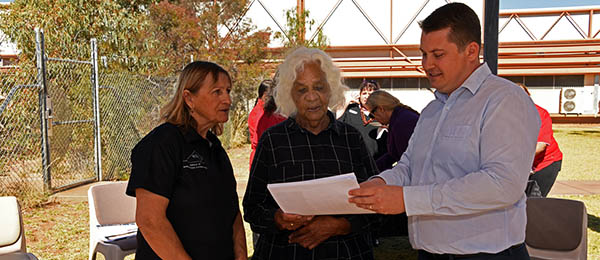 From left: Lorraine St Clair, Veronica Dobson and Jay Walker at the language lunch